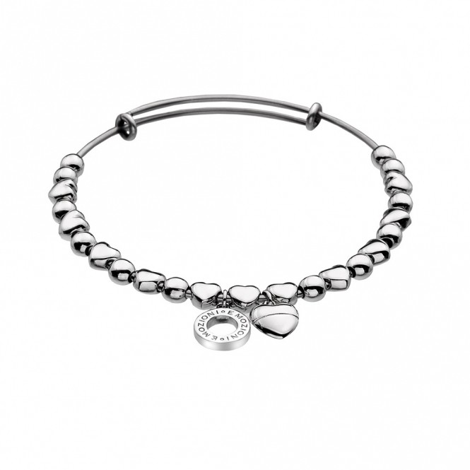 Emozioni Silver Plate Heart Bangle
