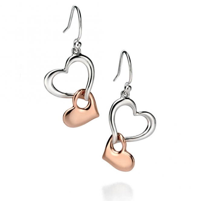 Fiorelli Silver and Rose Gold Heart Earrings