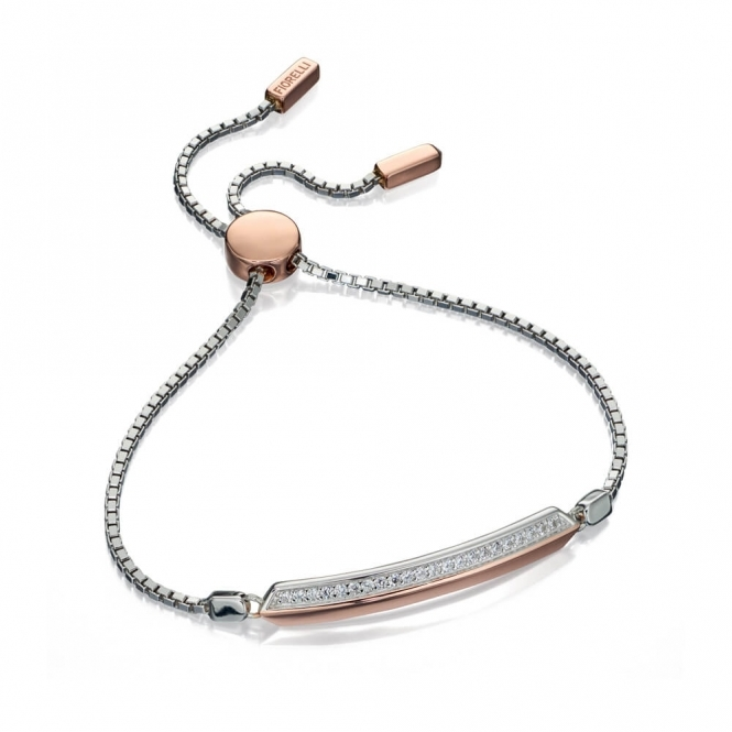 Fiorelli Silver and Rose Gold Plated Adjustable Bracelet