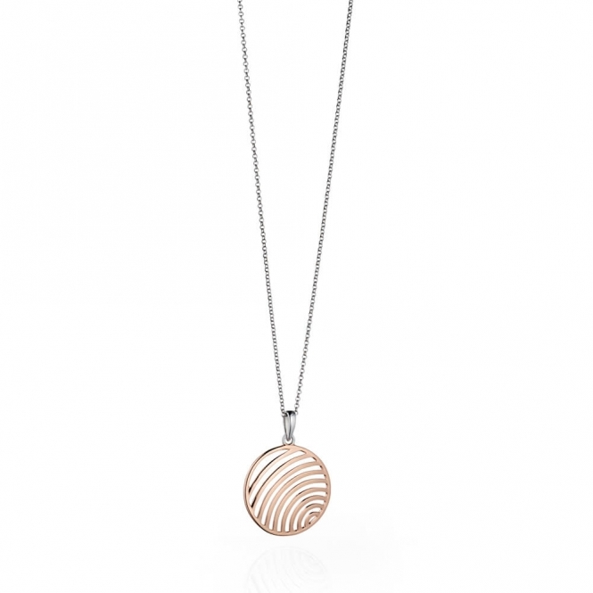 Fiorelli Silver and Rose Gold Plated Cutout Circle Pendant