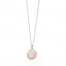 Silver and Rose Gold Plated Cutout Circle Pendant