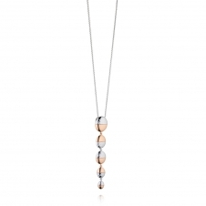 Silver and Rose Gold Plated Hammered Oval Drop Pendant