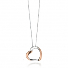 Silver and Rose Gold Plated Ribbon Heart Pendant