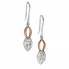 Silver and Rose Plated Cubic Zirconia Drop Earrings