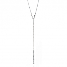 Silver Bamboo Chain Drop Necklace