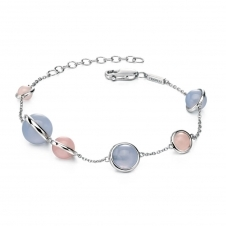 Silver Blue Rose Bead Bracelet