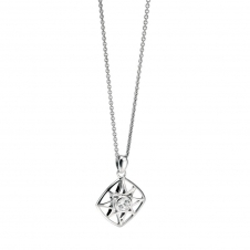 Silver Cut Out Diamond Shaped Pendant