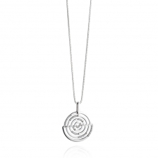 Silver Cut Out Pave Disc Pendant