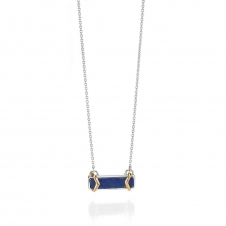 Silver Lapis Lazuli Necklace With Yellow Gold Detail