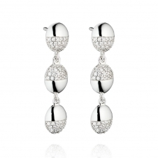 Silver Organic Pave Oval Drop Earrings