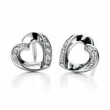 Silver Ribbon Heart Stud Earrings