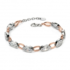 Two Tone and Cubic Zirconia Linked Bracelet