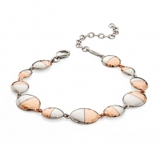 Two Tone Hammered Oval Bracelet