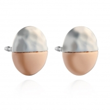 Two Tone Hammered Silver Stud Earrings