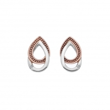 Chandelier Vintage Oval Stud Earrings with Rose Gold Plated Accents