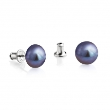 Silver Peacock Stud Freshwater Pearl