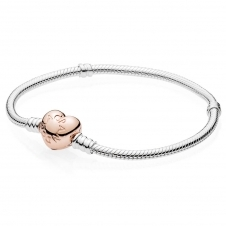 Moments Silver Bracelet with PANDORA Rose Heart Clasp 580719