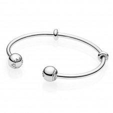Moments Silver Open Bangle, PANDORA Logo Caps 596477