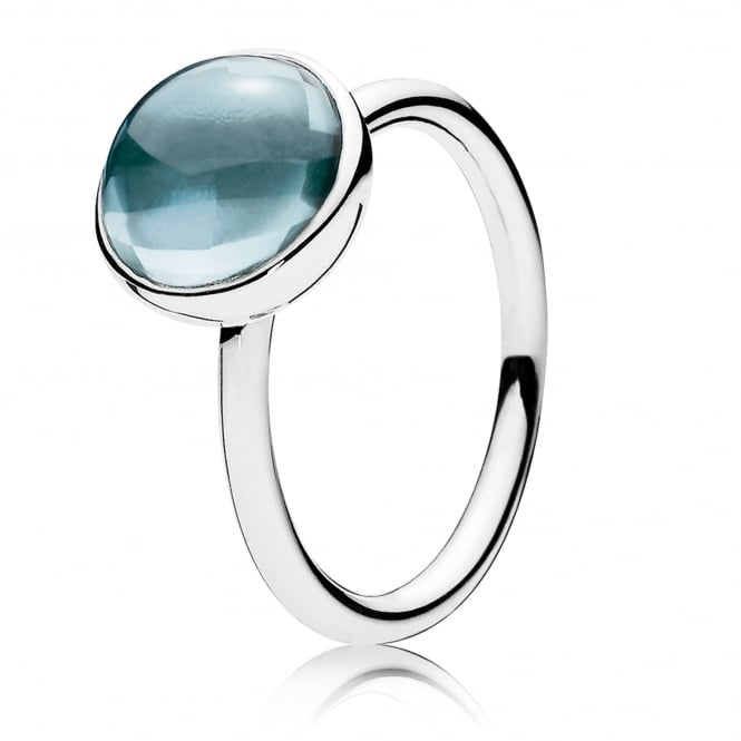 PANDORA Aqua Blue Poetic Droplet Ring 190982NAB