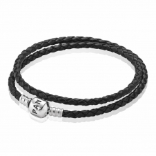 Black Double Woven Leather Bracelet 590705CBK