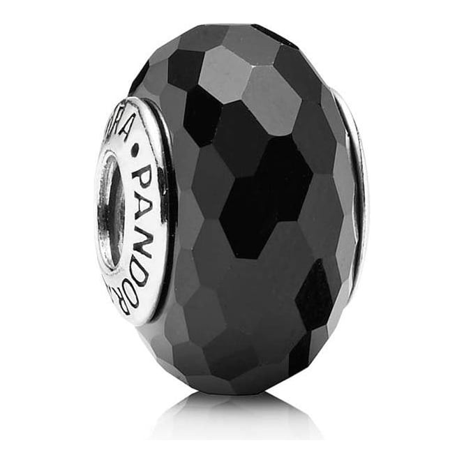 PANDORA Black Faceted Murano Glass Charm 791069