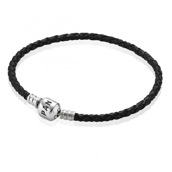 PANDORA Black Single Woven Leather Bracelet 590705CBK
