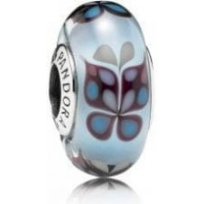 Blue Butterfly Kisses Murano Charm 791622
