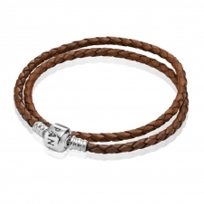 Brown Double Woven Leather Bracelet 590705CBN