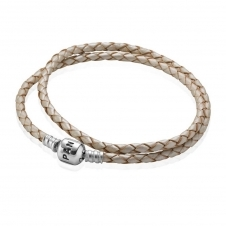 Champagne Double Woven Leather Bracelet 590705CPL