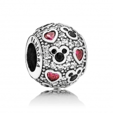 Disney - Sparkling Mickey and Hearts Charm 791457CZ