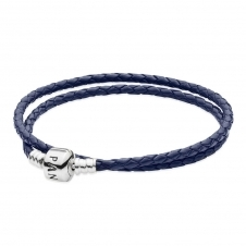 Double Blue Leather Bracelet 590705CDB-D