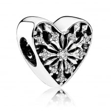 Frosted Heart Charm 791996CZ
