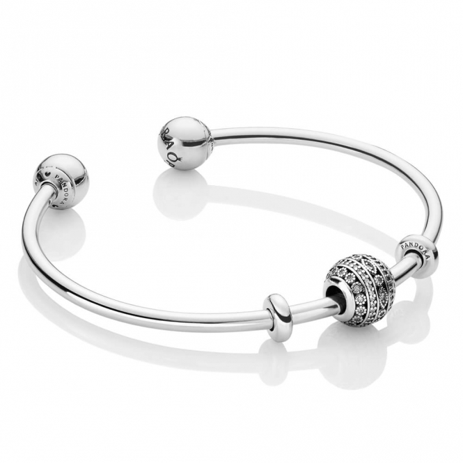 PANDORA Glittering Shapes Open Bangle B800657