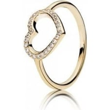 Gold Captured Heart Ring 150179CZ