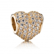 Gold Pave Heart Charm 750828CZ