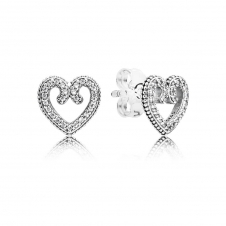 Heart Swirls Stud Earrings 297099CZ
