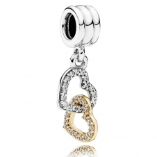 Interlocked Hearts Pendant Charm 792068CZ