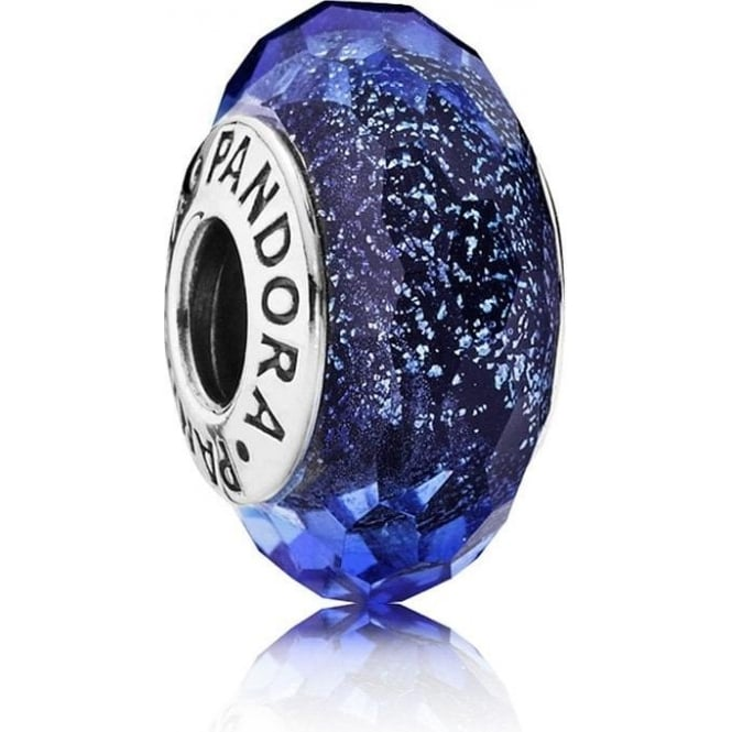 PANDORA Iridescent Blue Faceted Glass Murano Charm 791646