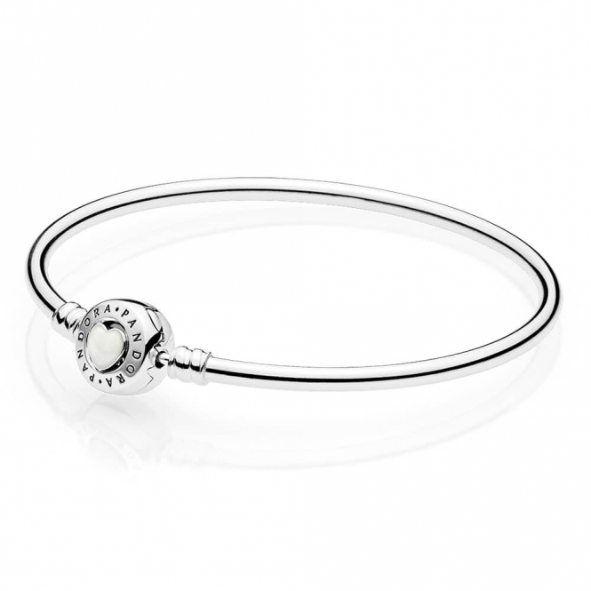 PANDORA Limited Edition Moments Loving Heart Clasp Silver Bangle 590746EN23