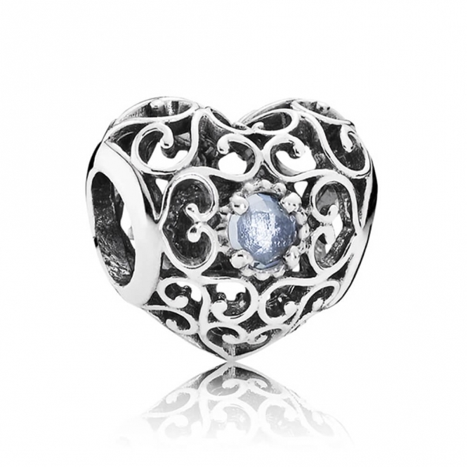 PANDORA March Heart Birthstone Charm 791784NAB
