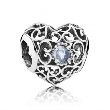 March Heart Birthstone Charm 791784NAB