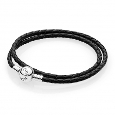 Moments Double Woven Leather Bracelet - Black 590745CBK