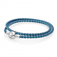 Moments Double Woven Leather Bracelet - Blue Mix 590747CBMX