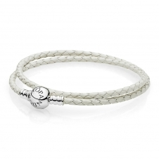 Moments Double Woven Leather Bracelet - Ivory White 590745CIW
