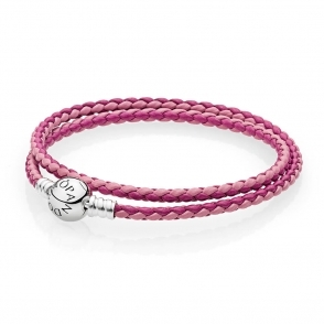Moments Double Woven Leather Bracelet - Pink Mix 590747CPMX