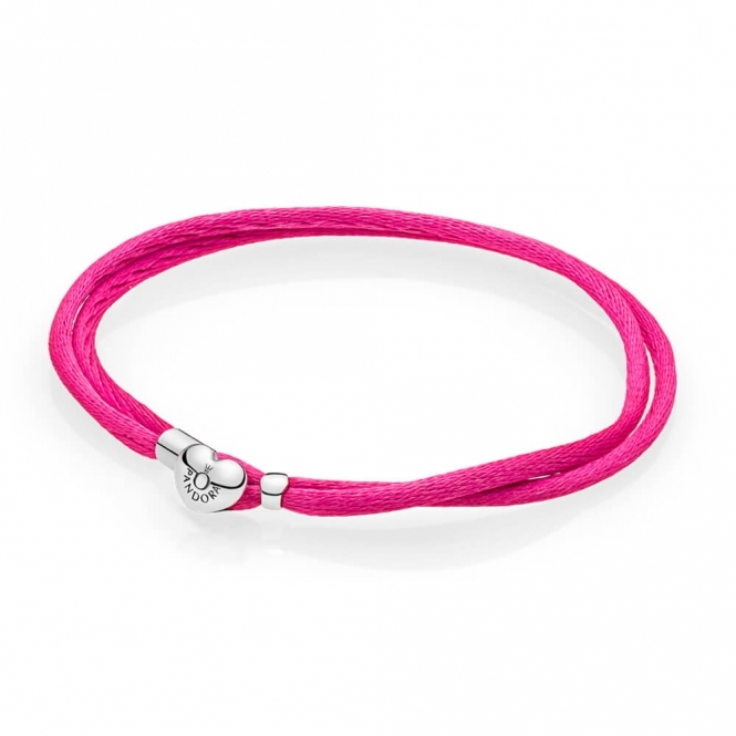 PANDORA Moments Fabric Cord Bracelet - Hot Pink 590749CPH