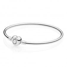 Moments Silver Bangle - Logo Heart Clasp 596268