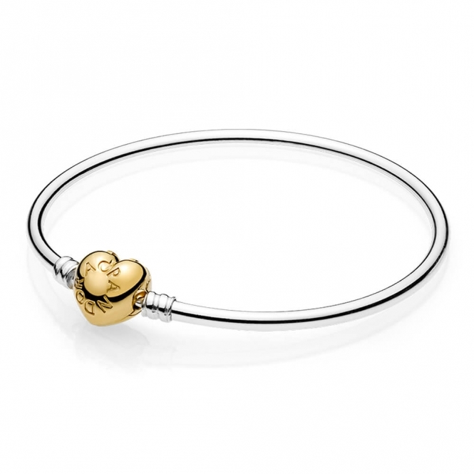 PANDORA Moments Silver Bangle - Shine Logo Heart 5671637