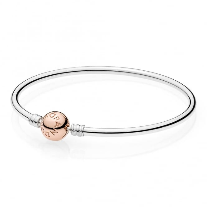 PANDORA Moments Silver Bangle with Rose Clasp 580713