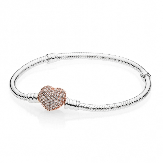 PANDORA Moments Silver Bracelet - Rose Pave Heart 586292CZ6